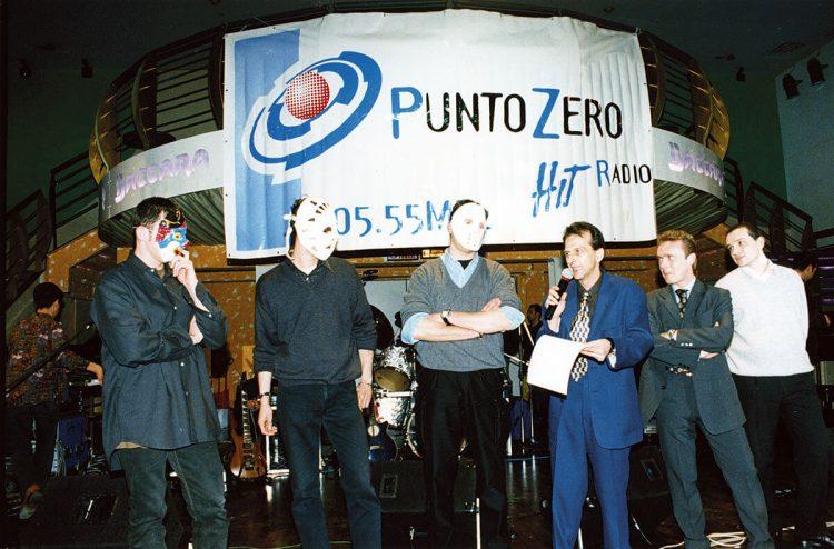 I 3 conduttori alla presentazione del palinsesto di Punto Zero Hit Radio Lugo 1998/99