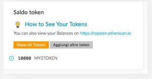 Inseriti i parametri vedremo il saldo dei token disponibili