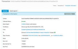 Transazione effettuata con successo: il token è stato pubblicato
